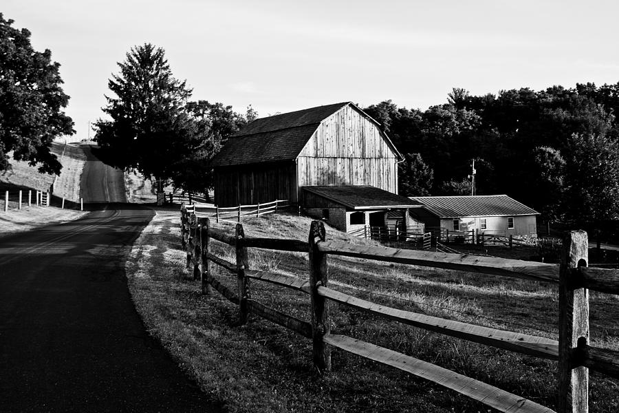 Barn Photograph - Langus Farms Black And White by Jim Finch
