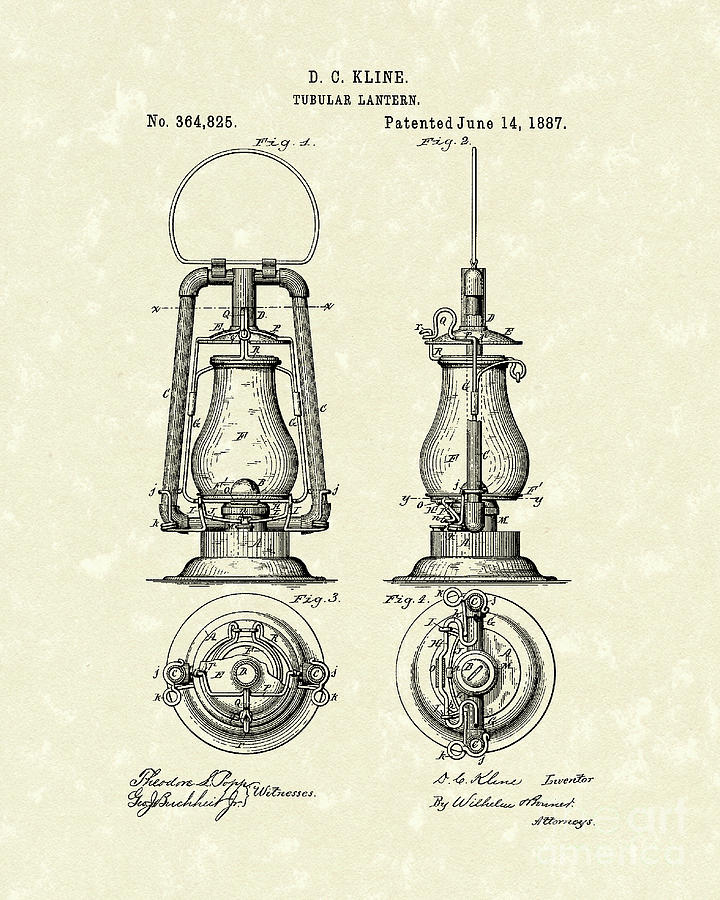 Lantern 1887 Patent Art Drawing By Prior Design