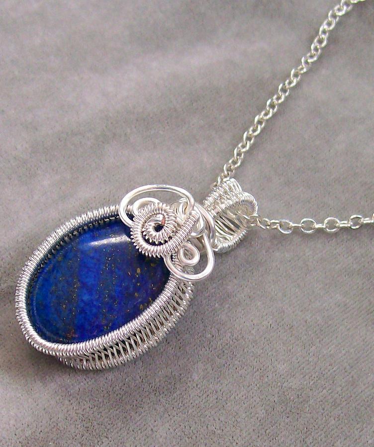 Wire Jewelry - Lapis Lazuli And Silver Woven Bezel Pendant by Heather Jordan