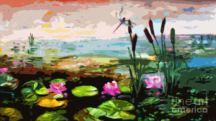 Large Abstract Lily Pond And Dragonfly Painting By Ginette