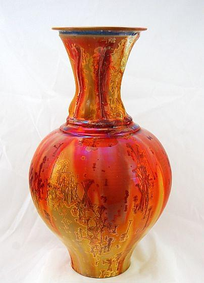 Large Gold Crystalline Vase Ceramic Art By Gordon Hutchens