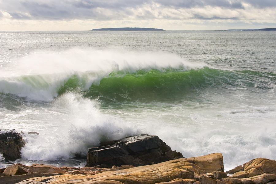 Large Waves Seascape Acadia National Park Photo Print by Keith Webber Jr