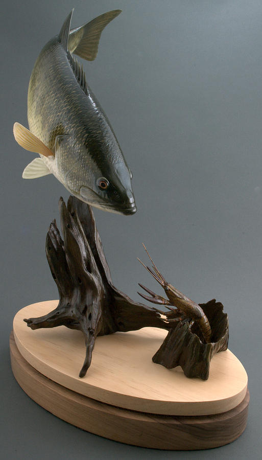 Wood Carving Sculpture - Largemouth Bass And Crawfish by Chad Turner