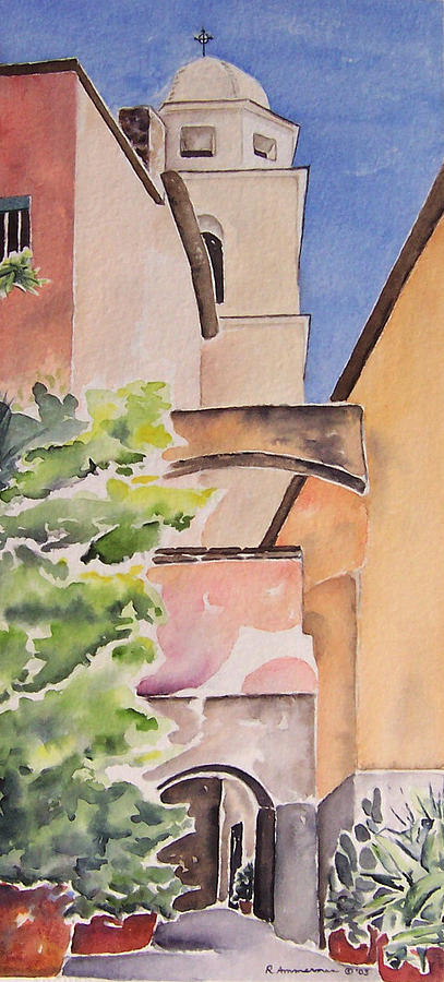 Italian Village Painting - Largo Delloratorio by Regina Ammerman