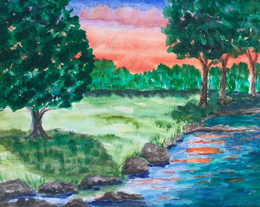 Landscape Painting - Last Light by Jeanette Stewart