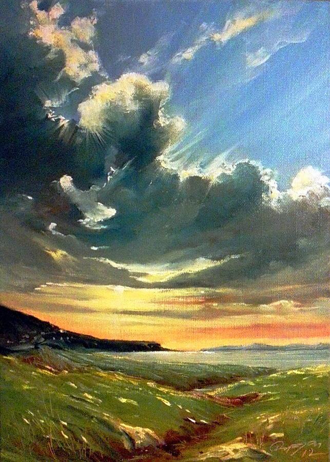 Ireland Painting - Late Evening Over Dugort by Roman Burgan