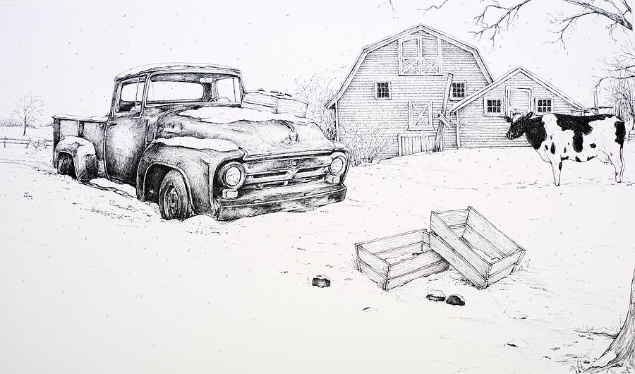 Pen And Ink Drawing - Late Season Apples by Scott Nelson