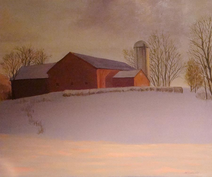 Landscape Painting - Late Winter At The Lufkin Farm by Mark Haley