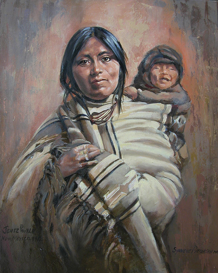 Native American Mother And Child Art Laughing Baby Painting...