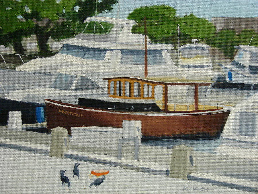 Yacht Club Launch Painting - Launch   Mystic by Robert Rohrich