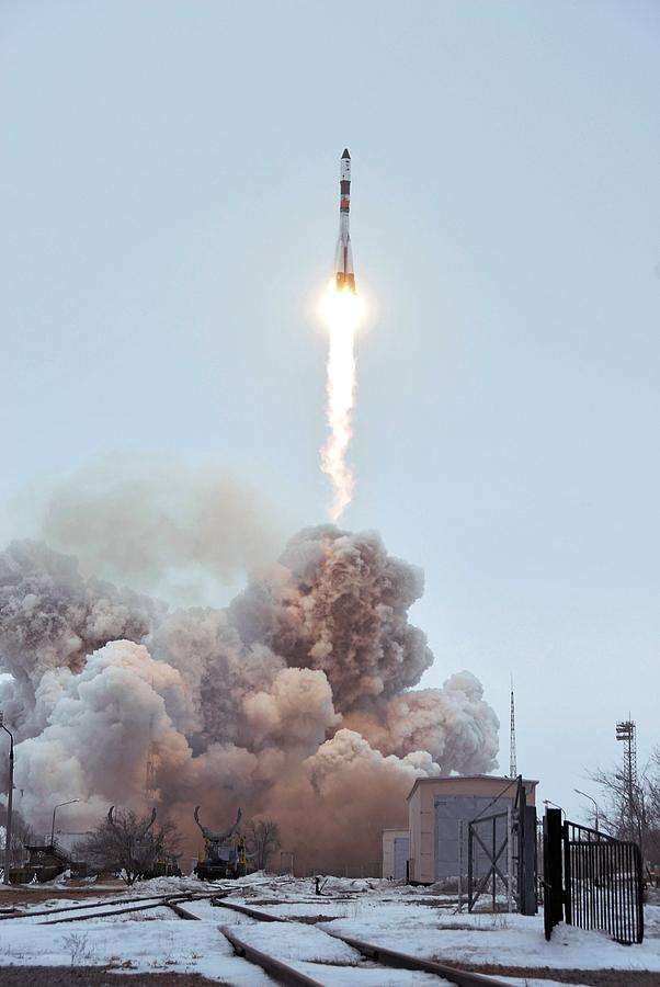 Space Photograph - Launch Of Progress 66 Cargo Mission by Ria Novosti