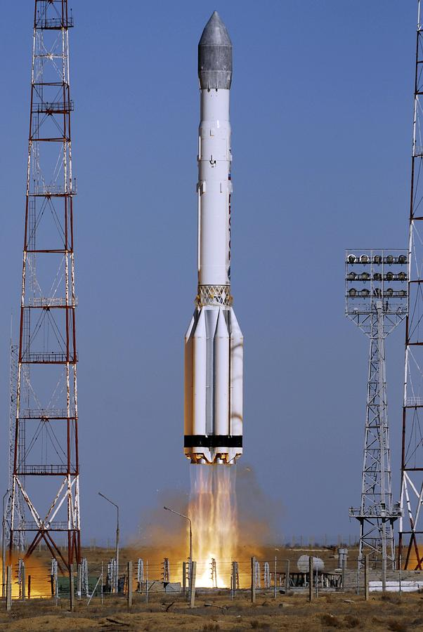 Proton Photograph - Launch Of Proton-k Rocket by Ria Novosti