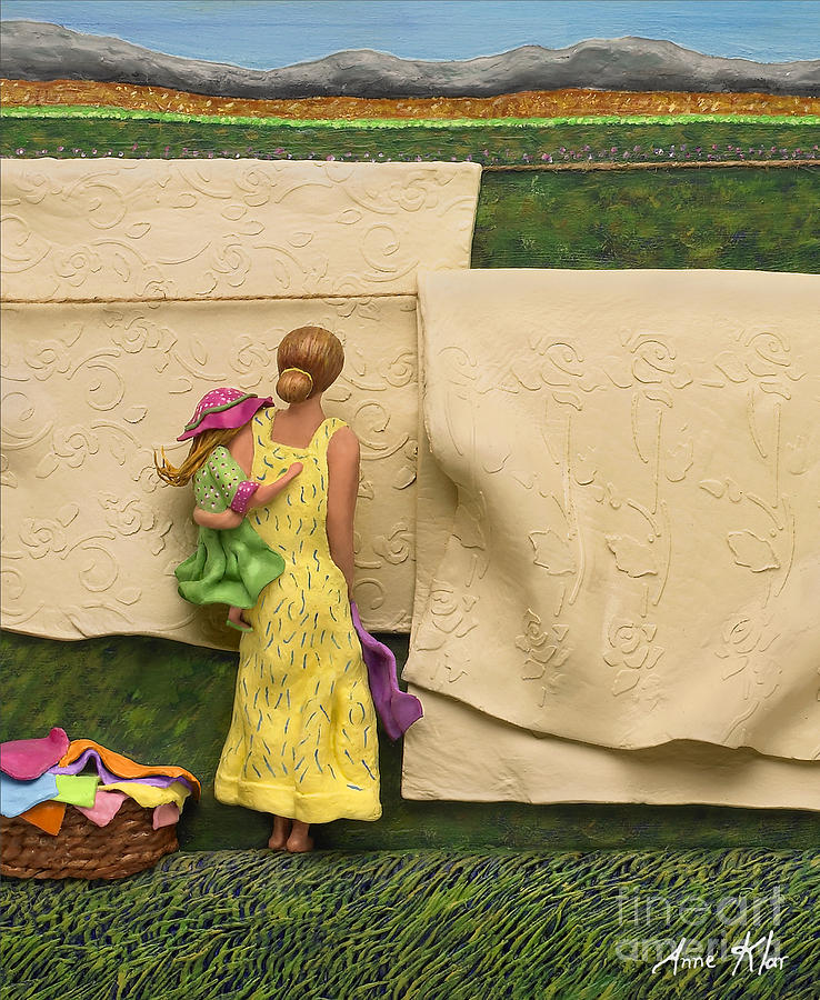 Mom Mixed Media - Laundry - Crop Of Original - To See Complete Artwork Click View All by Anne Klar