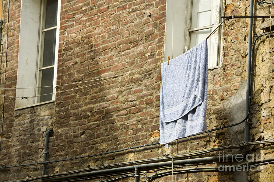 Apartment Photograph - Laundry Hanging From Line, Tuscany, Italy by Paul Edmondson