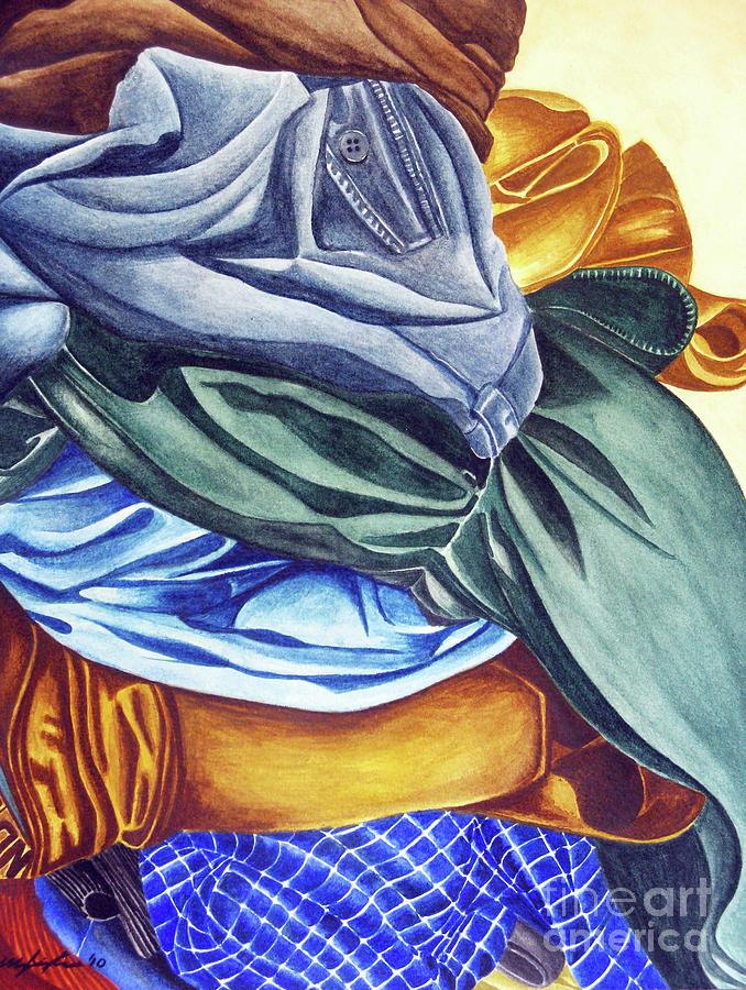 Watercolor Painting - Laundry No2 by Mic DBernardo