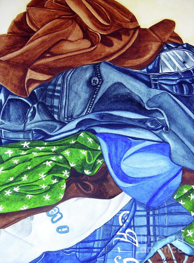 Watercolor Painting - Laundry No4 by Mic DBernardo