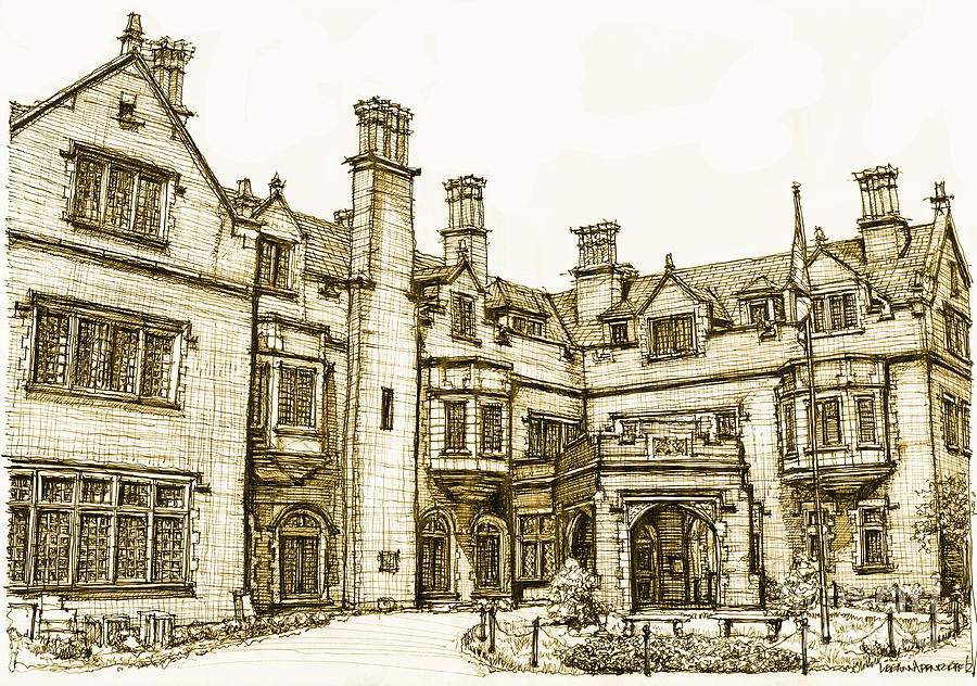 Laurel hall in sepia drawing by adendorff design for Drawing hall design