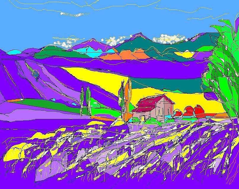Landscape Digital Art - Lavender Fields by Alberto Lacoius-Petruccelli