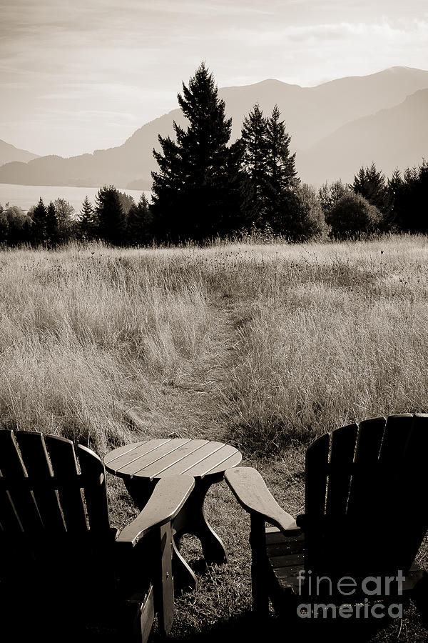 Landscape Photograph - Lawn Chair View Of Field by Darcy Michaelchuk