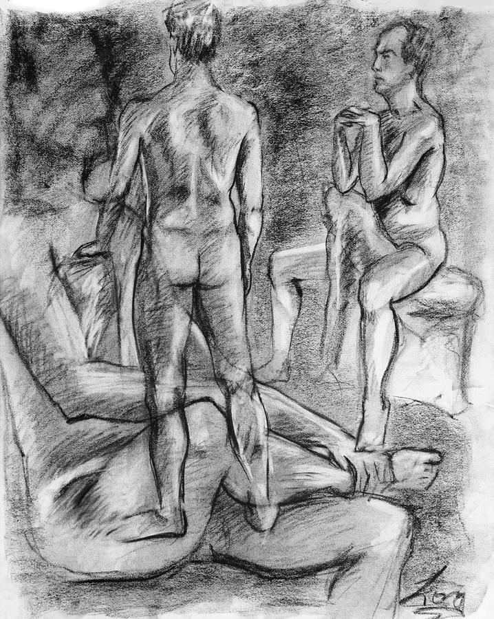 Art; Drawing; Charcoal; Male; Man; Nude; Person; People; Man; Back; Body; Torso; Light; Shadow; Muscle; Tone; Beauty; Peace; Peaceful; Pleasant; Delightful; Model; Pose; Sit; Line; Shade; Highlight; Border; White; Black; Gray; Caucasian; Grayscale; Chiaroscuro; Adam Long; Adam; Long; Portrait; Overlap; Layer; Design; Composition; Sit; Stand Drawing - Layered Man Figure Study by Adam Long