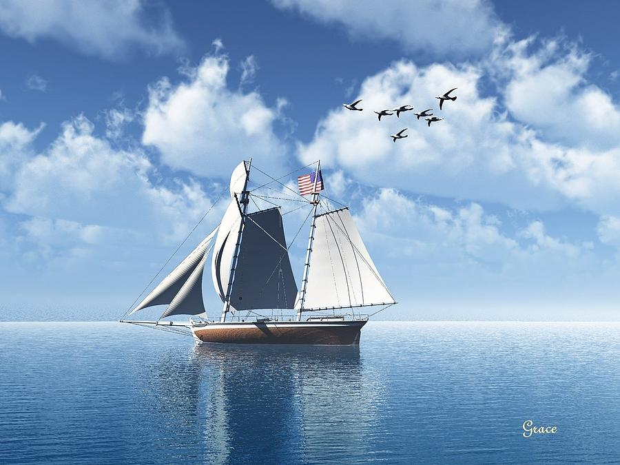 Waterscape Digital Art - Lazy Day Sail by Julie Grace