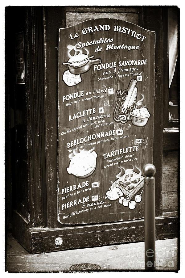Le Grand Bistrot Menu Photograph - Le Grand Bistrot Menu by John Rizzuto