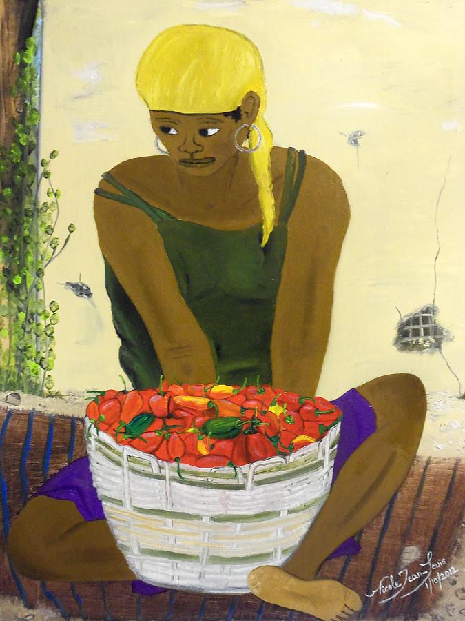 Red Chili Pepper Painting - Le Piment Rouge D Haiti by Nicole Jean-Louis