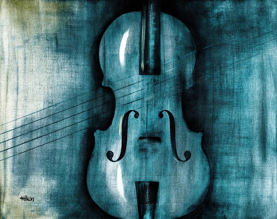 Oil Painting - Le Violon Bleu by Hakon Soreide