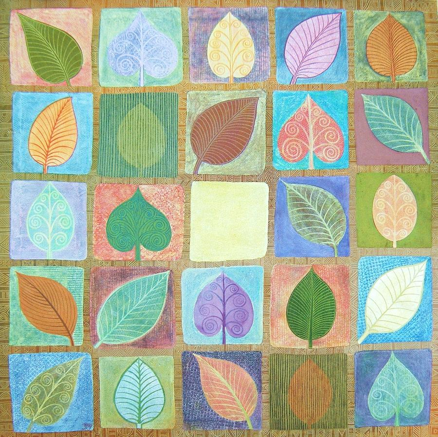 Leafy Squares Painting by Jennifer Baird