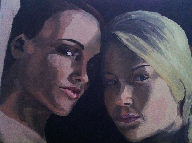 Portrait Painting - Leah And Tiffany by Stephen Panoushek