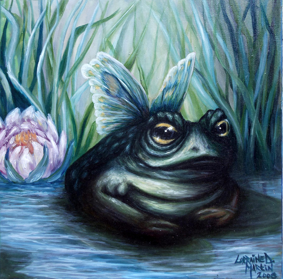 Swamp Painting - Leahs Butterfrog by Lorraine Davis Martin