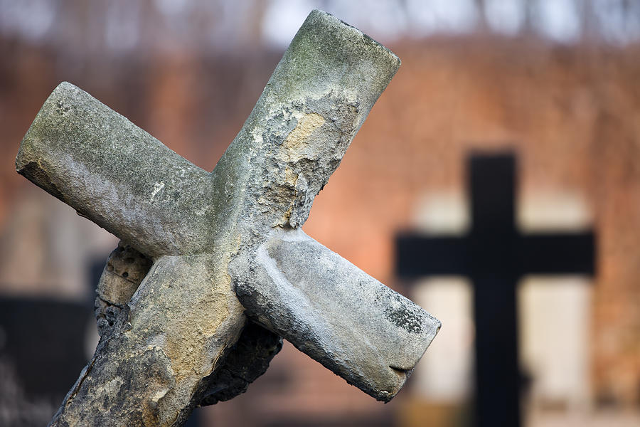 Cross Photograph - Leaning Cross At Cemetery by Artur Bogacki