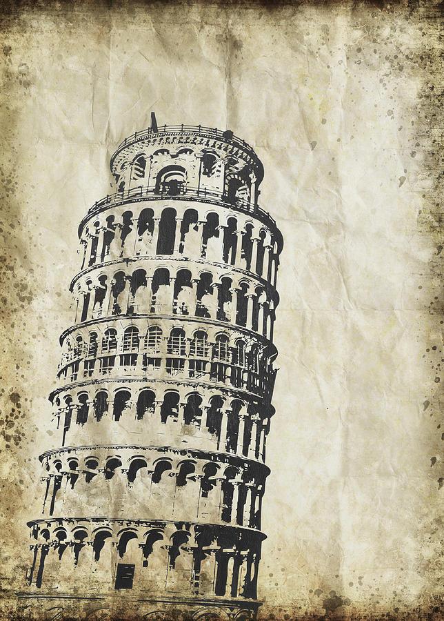 Address Photograph - Leaning Tower Of Pisa On Old Paper by Setsiri Silapasuwanchai