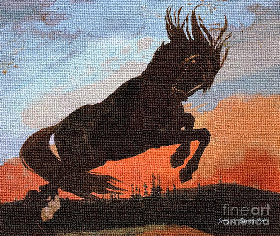 Dusk Mixed Media - Leaping Black Horse by Jerry L Barrett