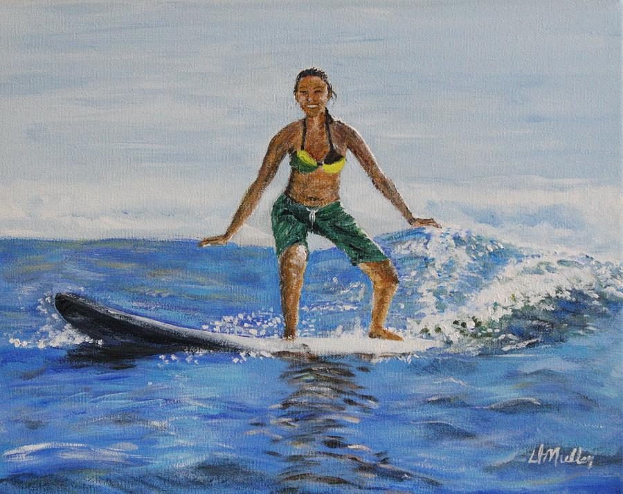 Surfing Painting - Learning To Surf by Donna Muller