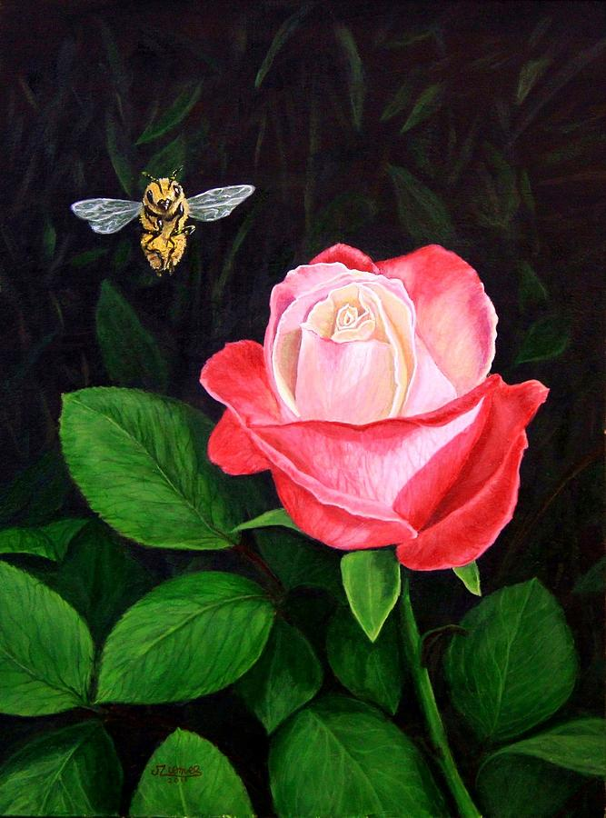 Flower Painting - Leave My Rose Alone by Jim Ziemer