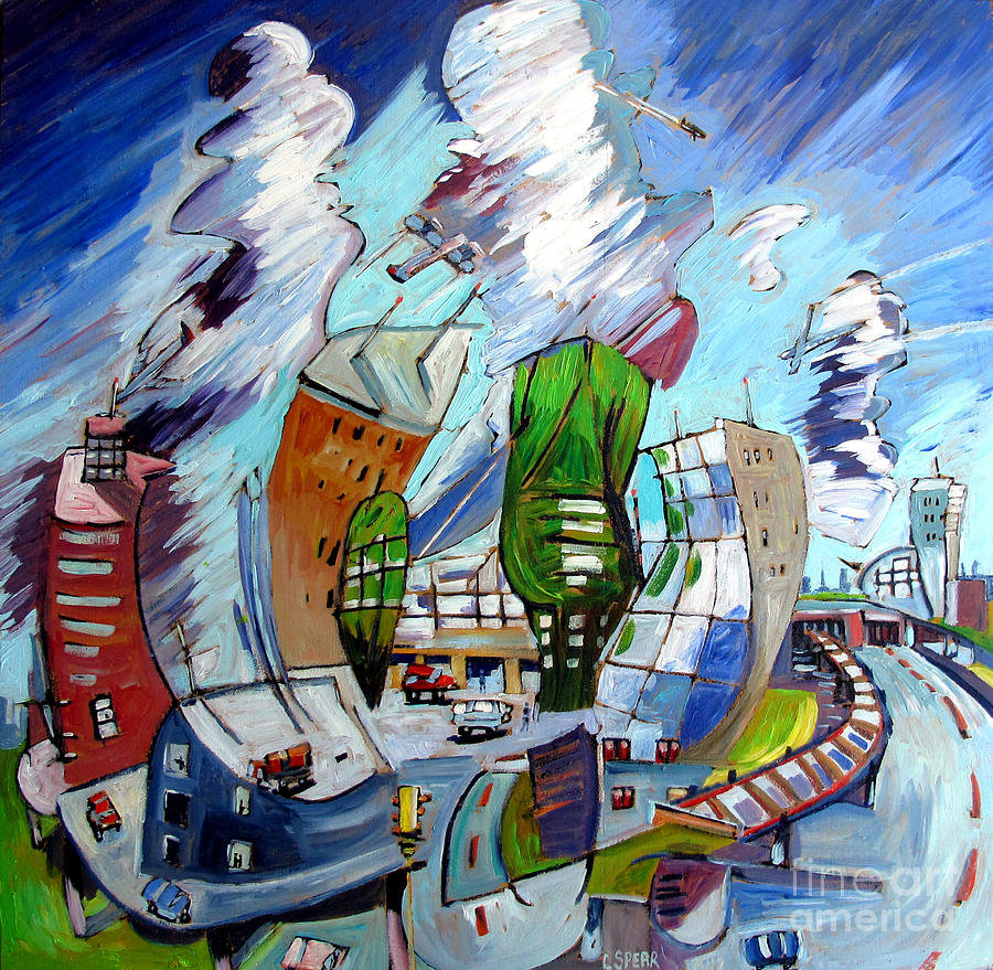 O'hare Airport Painting - Leaving Ohare On A Jet  Plane by Charlie Spear