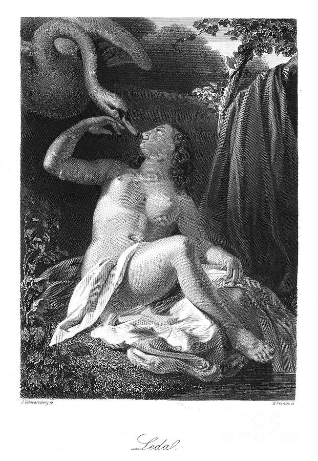 Ancient Photograph - Leda And The Swan by Granger