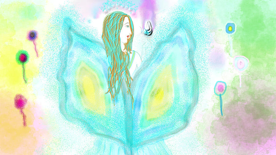 Fairy Fada Color Flower Garden Violet Flame Blue Turquoise Azul Aquamarine Wings  Digital Art - Leelavy Fairy / Fada Leelavy by Rosana Ortiz