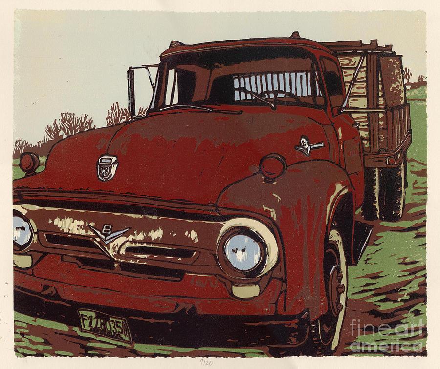 Painting Painting - Leesers Truck - Linocut Print by Annie Laurie
