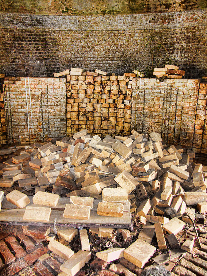 Antique Photograph - Left Over Brick In Antique Brick Kiln by Kathy Clark