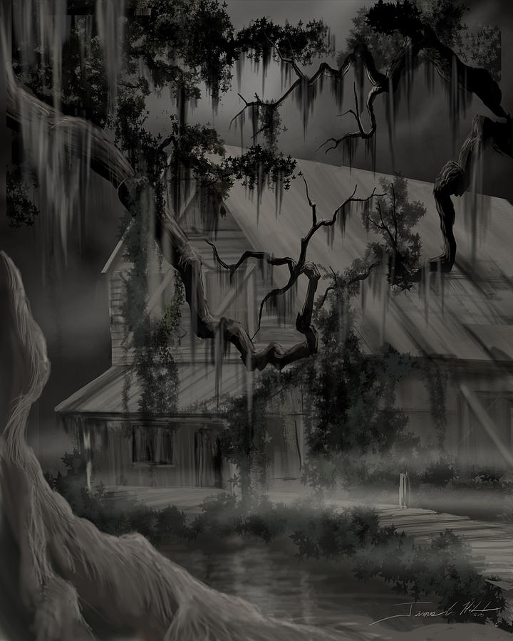 Old Woman Painting - Legend Of The Old House In The Swamp by James Christopher Hill