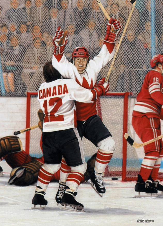 Team Canada 72 Painting - Legends Series Goal Of The Century 12x15 by Daniel Parry