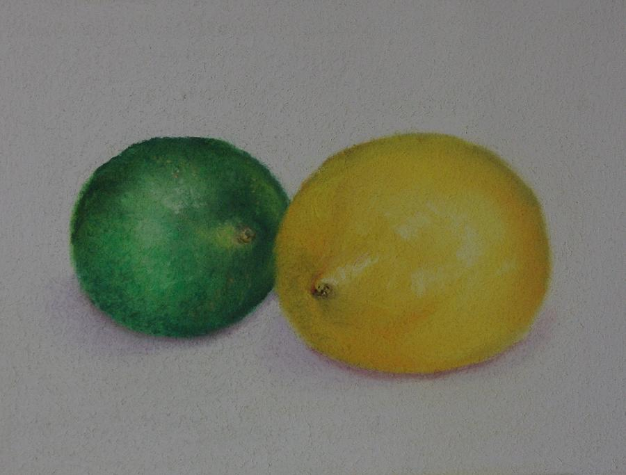 Still Life Drawing - Lemon And Lime by Loueen Morrison