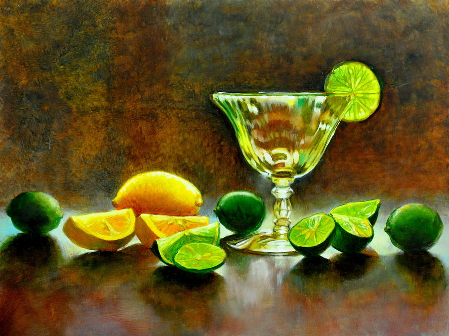 Yellow Painting - Lemon Lime by Cynthia Peterson