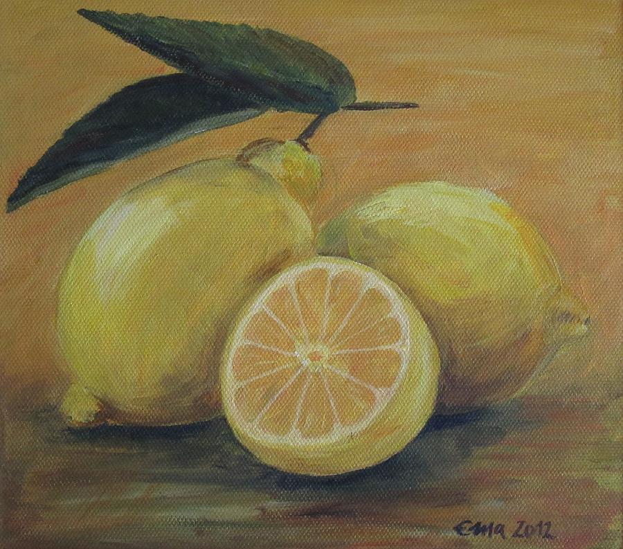 Lemons Painting - Lemons by Ema Dolinar Lovsin