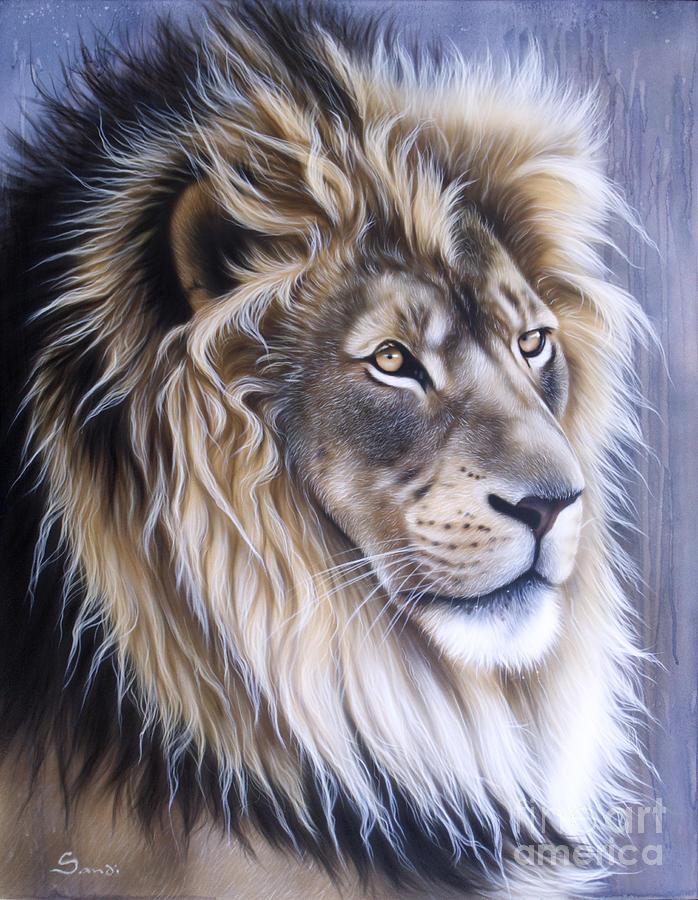 Lion Painting - Leo by Sandi Baker