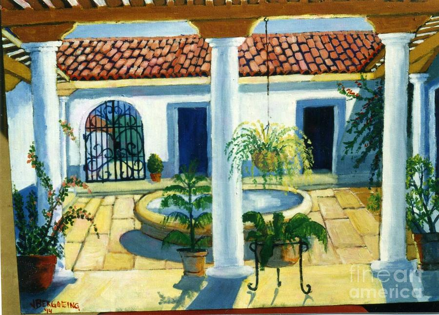 Plants Painting - Leon Patio by Jean Pierre Bergoeing