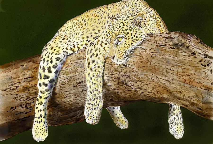 Beautiful Digital Art - Leopard At Rest by Yvonne Scott