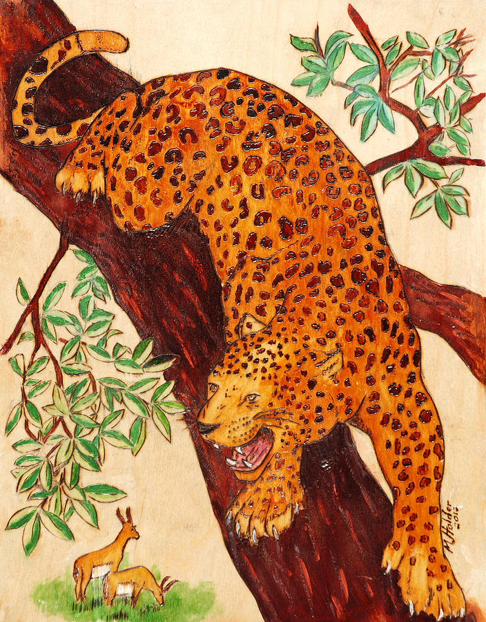 Leopard Pyrography - Leopard by Mike Holder